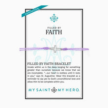 Load image into Gallery viewer, My Saint My Hero Filled by Faith Open Cross Bracelet Lavender with Silver