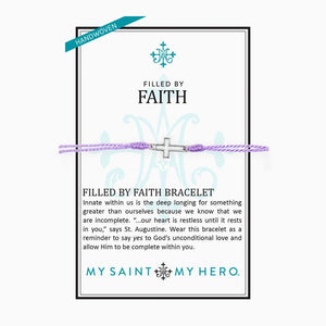 My Saint My Hero Filled by Faith Open Cross Bracelet Lavender with Silver