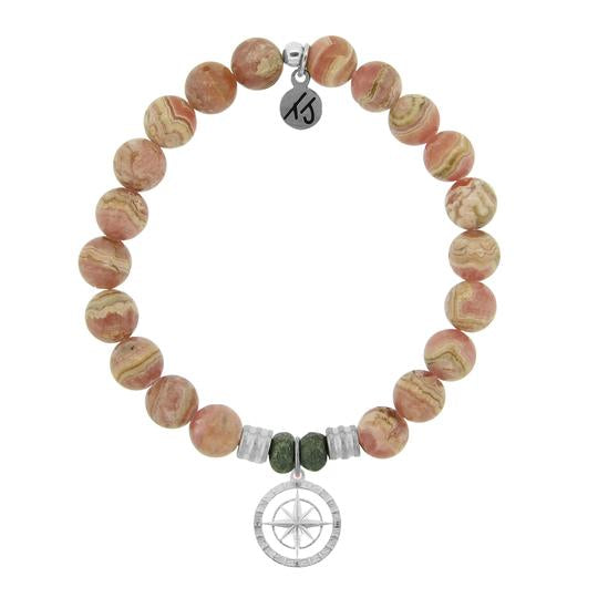 T. Jazelle Rhodochrosite Stone Bracelet with Compass Rose Sterling Silver Charm