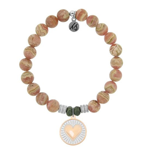 Rhodochrosite Stone Bracelet with Heart of Gold Sterling Silver Charm