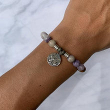 Load image into Gallery viewer, T. Jazelle Sage Amethyst Stone Bracelet with Cactus Sterling Silver Charm