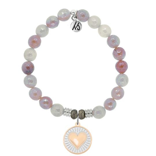 Sunstone Stone Bracelet with Heart of Gold Sterling Silver Charm