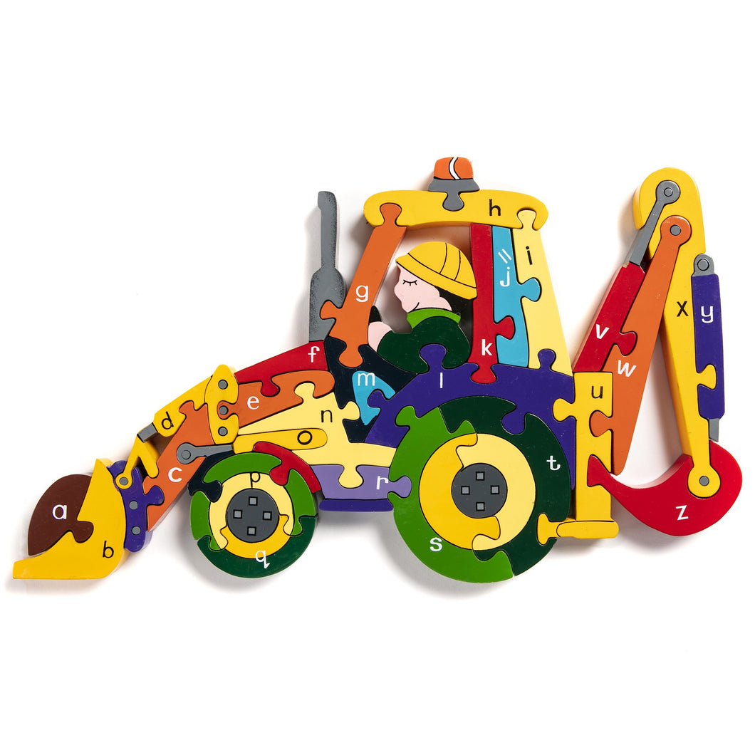 BACKHOE - Wooden Alphabet Jigsaw Puzzle