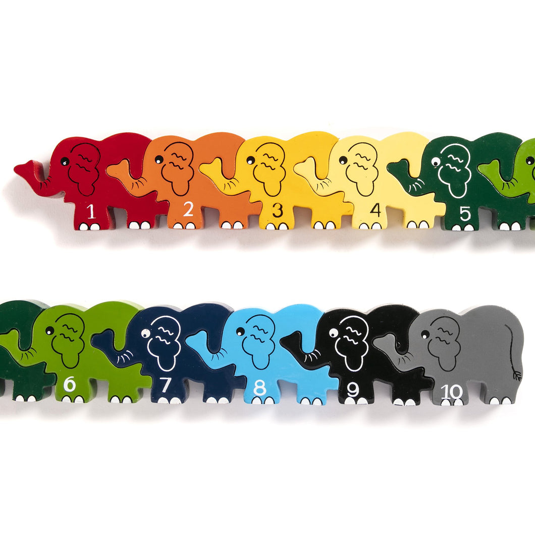 ELEPHANT ROW - Wooden Number Jigsaw Puzzle