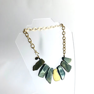 Agate + Magnesite Necklace - gold textured chain Hand Crafted in Ireland