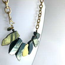 Load image into Gallery viewer, Agate + Magnesite Necklace - gold textured chain Hand Crafted in Ireland