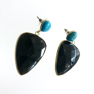Black Onyx and Turquoise Teardrop Earrings - Made in Ireland
