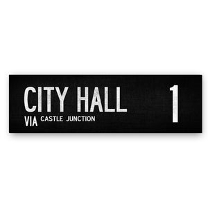 CITY HALL VIA CASTLE JUNCTION 1 - Belfast Canvas Co. Your Own Personal Journey - Belfast Bus Sign Route