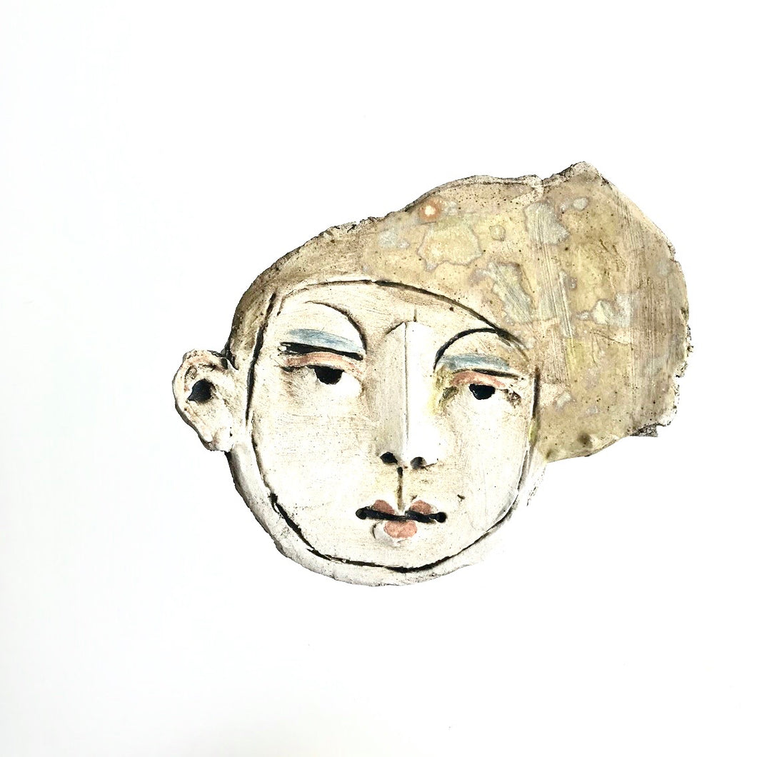 FACE Brooch V- Sculpture Ceramic figurative by Christy Keeney