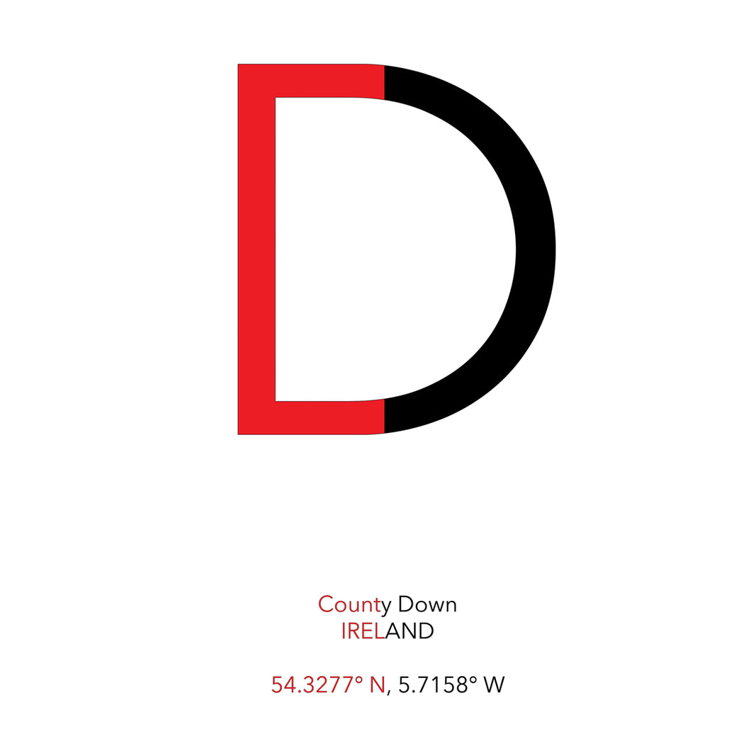 DOWN County Flag - Contemporary County Co-ordinates Prints