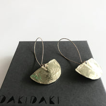 Load image into Gallery viewer, HALF MOON EARRINGS Textured Brass Small - Contemporary Made in Dublin Ireland