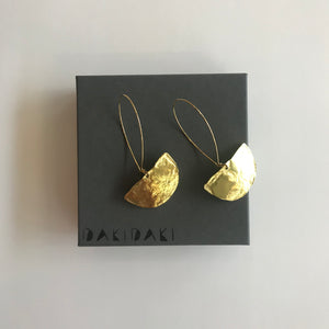 HALF MOON EARRINGS Textured Brass Small - Contemporary Made in Dublin Ireland