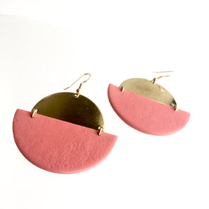 EARRINGS Pinky + Brass Textured - Contemporary Made in Dublin Ireland