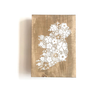 FLORAL IRELAND MAP - Once Upon a Dandelion - Wood Art Sign - Made in Ireland