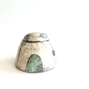 STORAGE JAR - Colourful Greenish Blueish Patterned Decorated by Deirdre Kerrigan Handmade in Ireland
