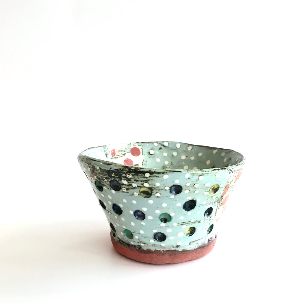SOUP BOWL - Multicoloured Blueish White Polka Dot Patterned Decorated by Deirdre Kerrigan Handmade in Ireland