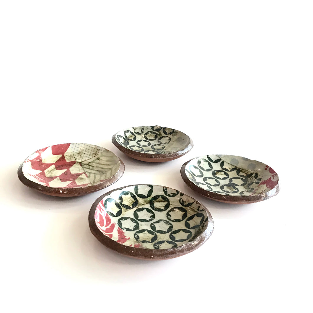 SMALL DISH - Multicoloured Stars Polka Dot Patterned Decorated by Deirdre Kerrigan Handmade in Ireland