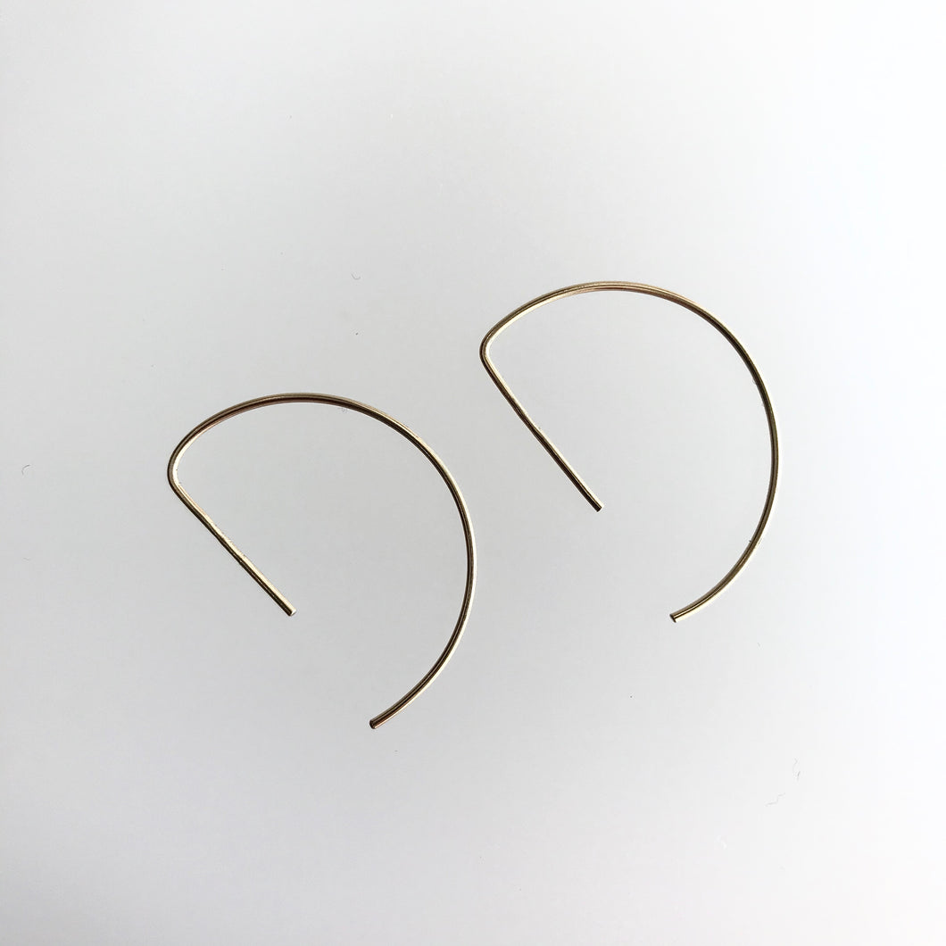 'Lunar' EARRINGS D Bar  - Gold Contemporary Irish Jewellery