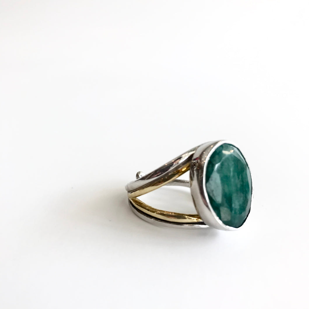 Rough Cut Emerald Dewberry Ring - Solid Silver with Gold Plate