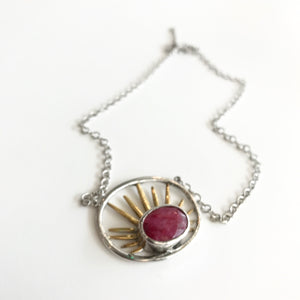 Goddess RUBY Pendant Necklace - Sterling Silver and Gold Plate