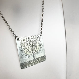 Silver Etched Tree Pendant Necklace - Made in Belfast