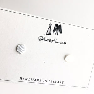 Silver Etched Stud Earrings - by Ghost & Bonesetter - Made in Belfast