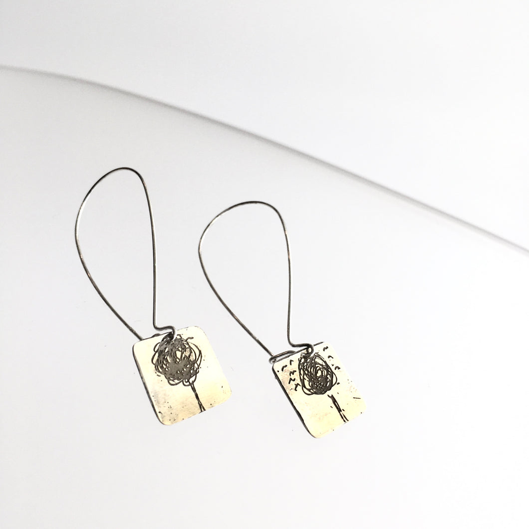 Gold Plated Etched Tree Drop Earrings - by Ghost & Bonesetter - Made in Belfast