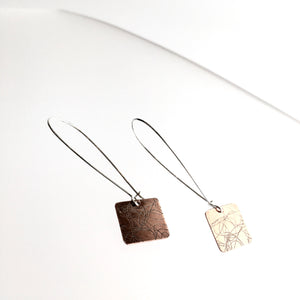 Copper Etched Square Drop Earrings - by Ghost & Bonesetter - Made in Belfast