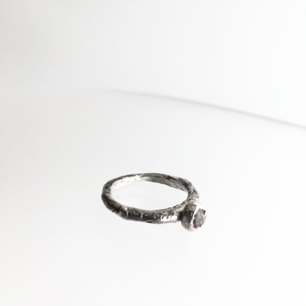 Silver Beaten Raw Ruby Stone Ring - by Ghost & Bonesetter - Made in Belfast
