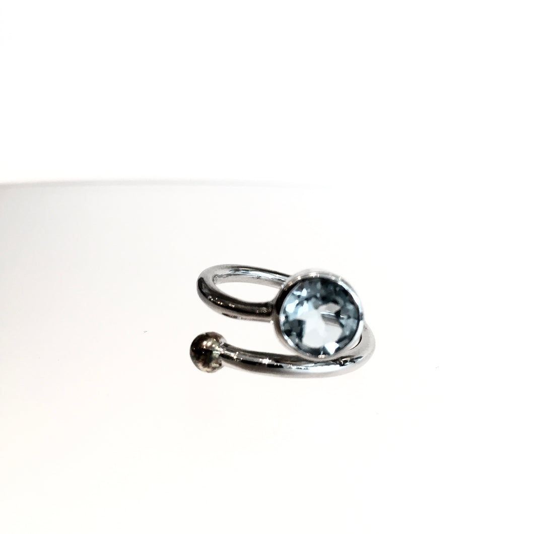 Honeysuckle Blue Topaz Ring - Solid Silver
