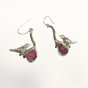 Ruby Lovebird Earrings - Silver & Gold Plate