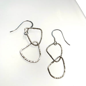 Small Silver Drop Hoop Earrings