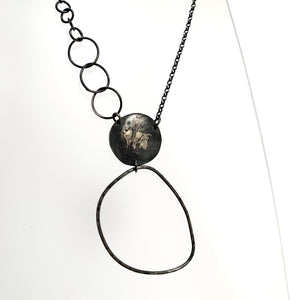 Silver Oxidised Large Hoop Pendant Necklace