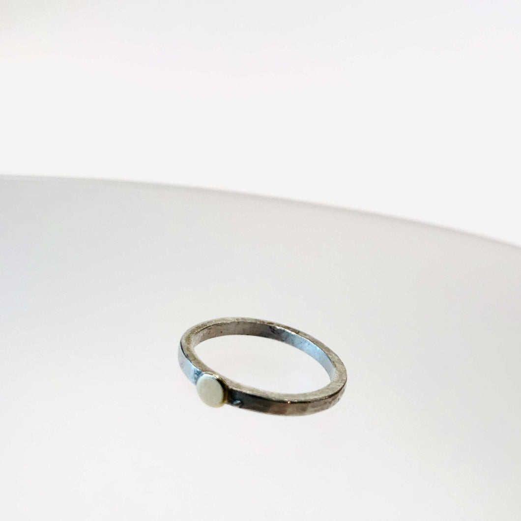 Silver & 18ct Gold Beaten Ring