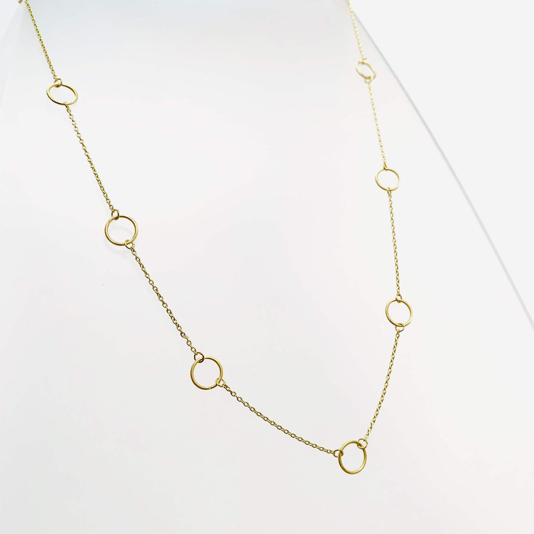 Gold 9 Circle Necklace