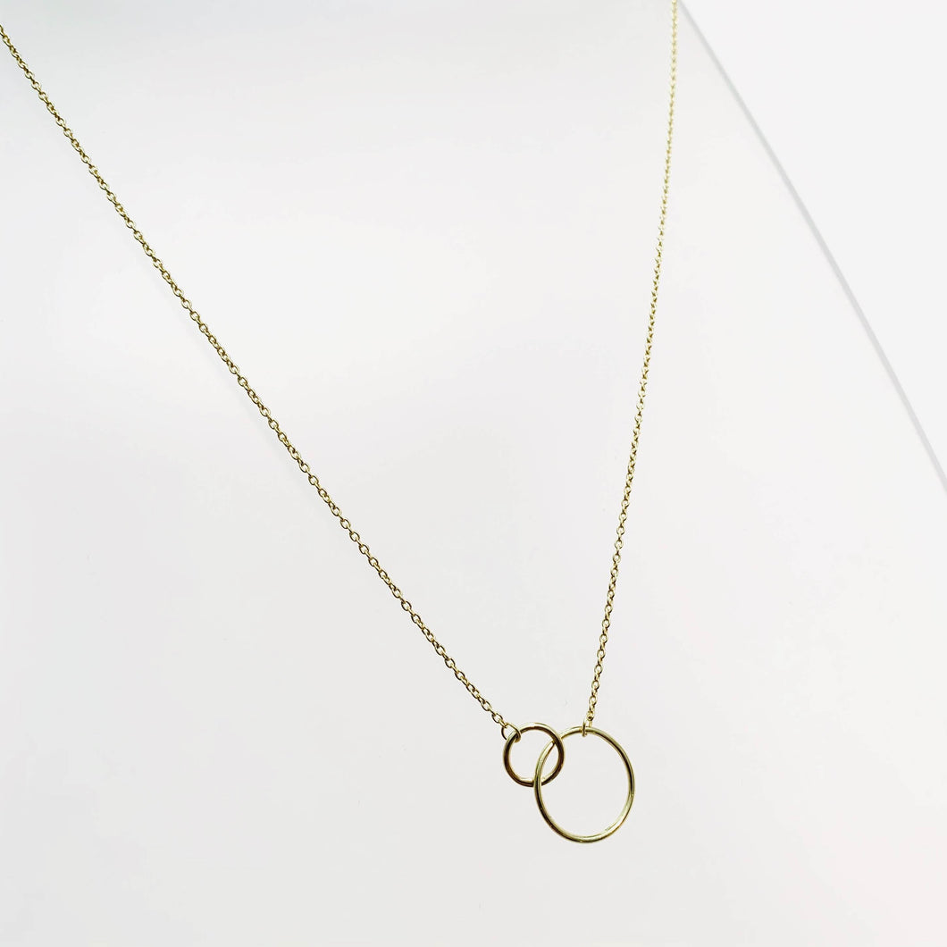 Gold 2 Circle Short Necklace