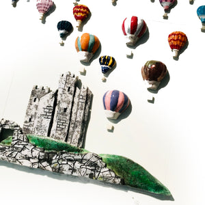 BEAUTIFUL IRELAND with CASTLE - Large, Raku Ceramic Art by Rebeka Kahn