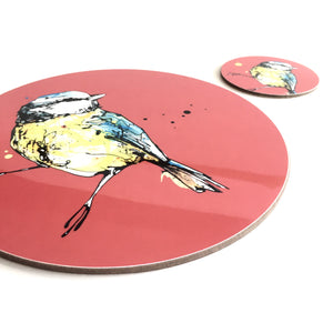 BLUE TIT - Placemat / Coaster - Red