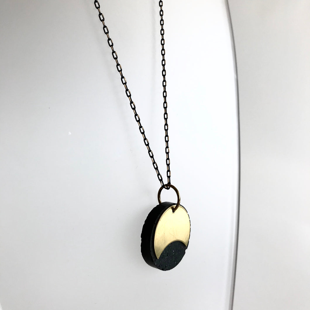 Eclipse Concrete + Circle Geometric Brass Necklace - Kaiko - Made in Ireland