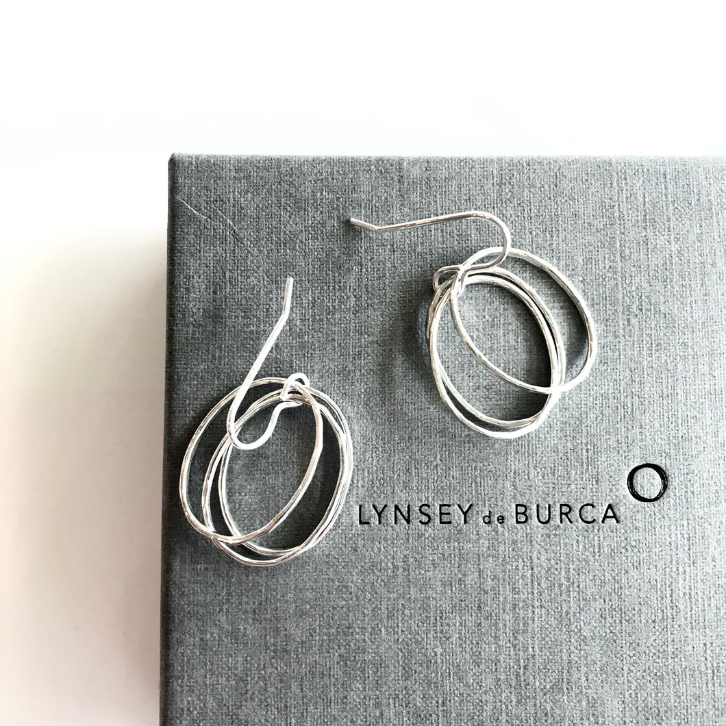 DOORUS - Silver Hammered Earrings - Made in Ireland
