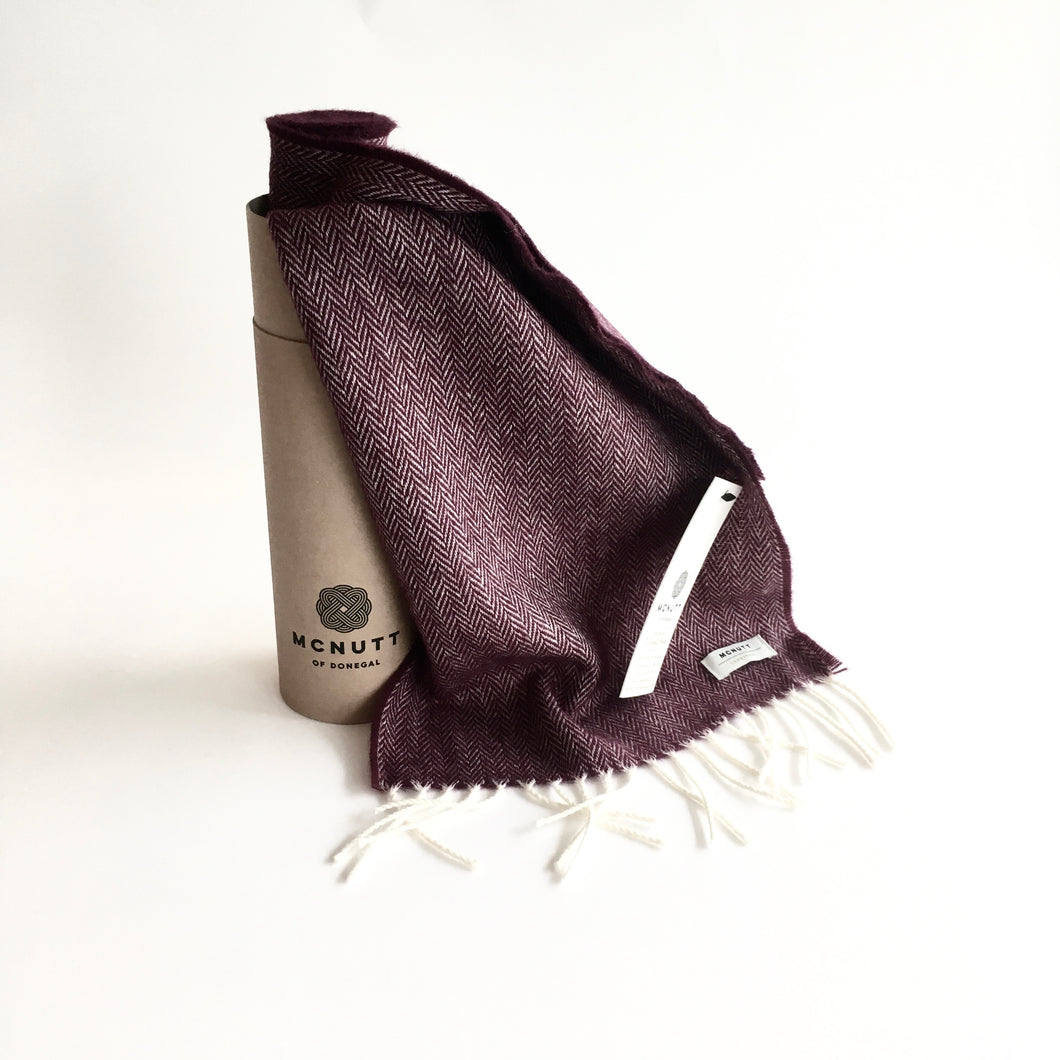 Burgundy Lambswool Scarf - Made in Donegal Ireland