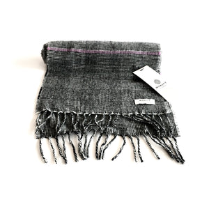 Grey Check Lambswool Scarf - Made in Donegal Ireland
