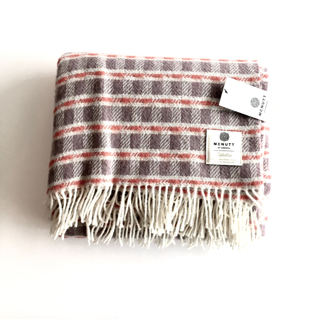 Thistle Orange Collection Lambswool Throw - Handmade in Donegal Ireland