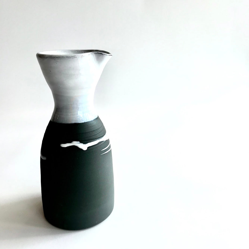 CARAFE - Beautiful Handmade Irish Pottery - Black Stoneware with White Glaze