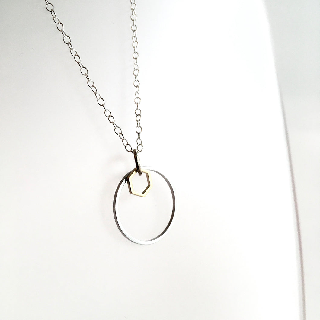Geometric Silver + Brass Necklace Made in Belfast