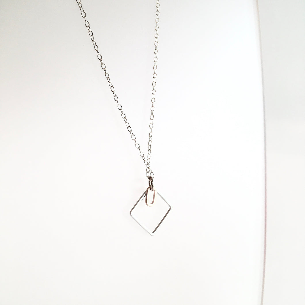 Geometric Silver + Brass Necklace Made in Ireland