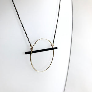 GOLD HOOP & BLACK BAR Pendant Necklace - Gold Plated Hand made in Ireland
