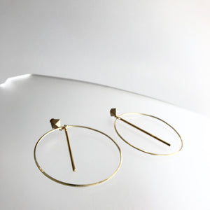 GOLD HOOP BAR DROP EARINGS - Gold Plated Hand made in Ireland