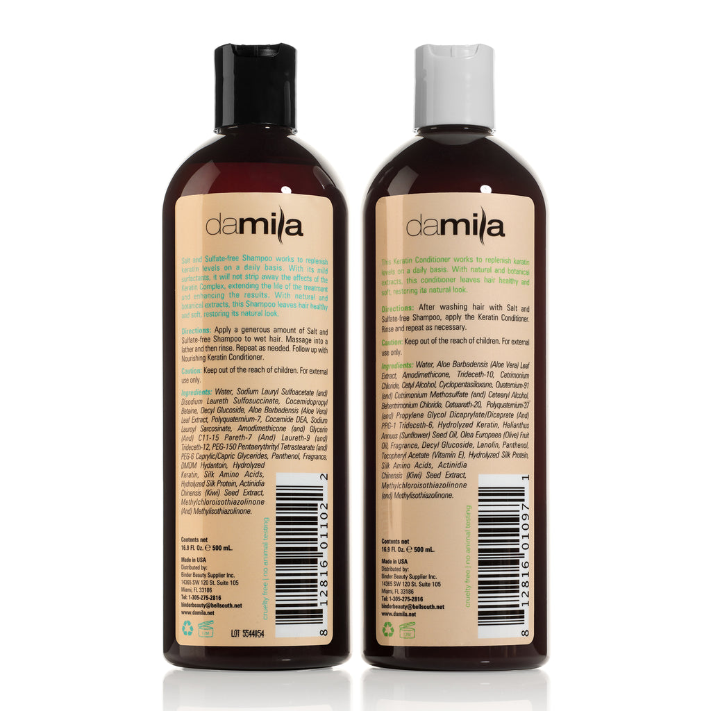 Damila Salt & Sulfate Free Shampoo and Nourishing Conditioner set, 16 fl oz,  for Keratin Treatment, Home Hair Treatment