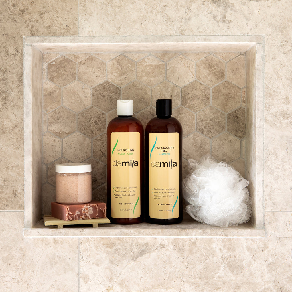 Salt & Sulfate Free Shampoo & Conditioner on a ceramic-tiled shelf